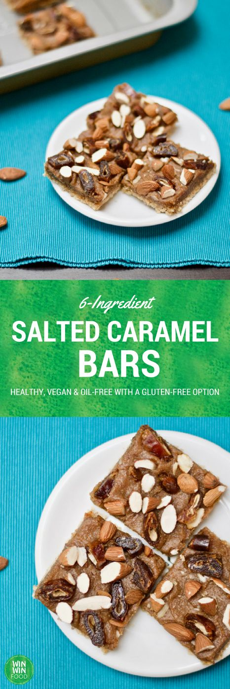 6-Ingredient Salted Caramel Bars | WIN-WINFOOD.com #healthy #vegan #glutenfree