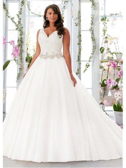Appliques V-neck Neckline A-line Plus Size Wedding Dress with Organza Satin