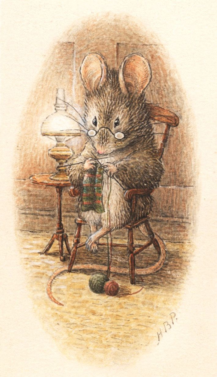 This knitting mouse delights me. Signed lower right H.B.P. for Helen Beatrix Potter, her full name.