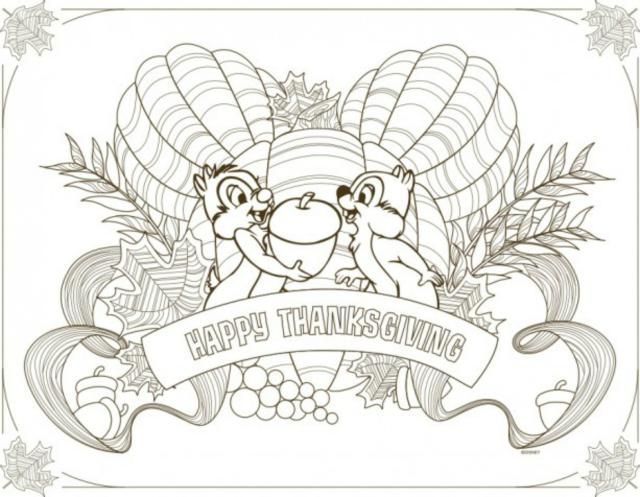 Disney Thanksgiving Placemats to Download and Color: Thanksgiving Placemat to Color