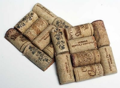 Wine Cork Coasters:  Start with a square cork coaster from a craft store. Then look for corks that are near the same size, and cut each in half lengthwise with the knife (a band saw will work for more experienced crafters). Arrange in any pattern you want, as long as they fit on the coaster. Excess coaster can be trimmed once the corks dry.Put a liberal drop of glaze or glue on the flat side of each cork, and press to secure on the coaster. Repeat until space is covered.