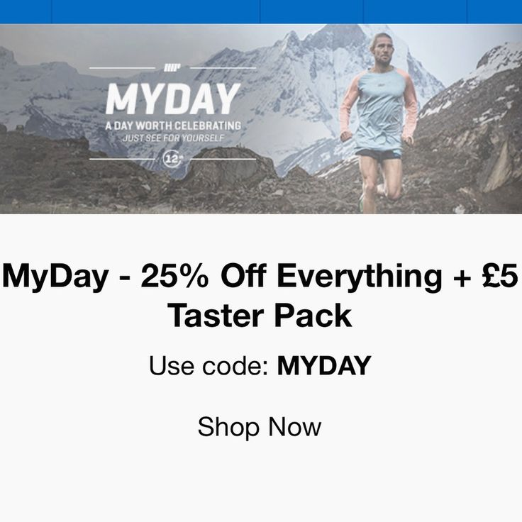 25% OFF EVERYTHING! USE CODE: MYDAY 💥Click on http://tidd.ly/baf28d8e to take you there!💥 #myprotein #clothing #protein #discount #supplements #gym #fitness