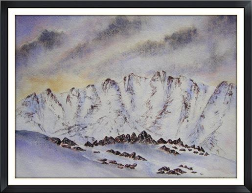 A mountain range in water colour