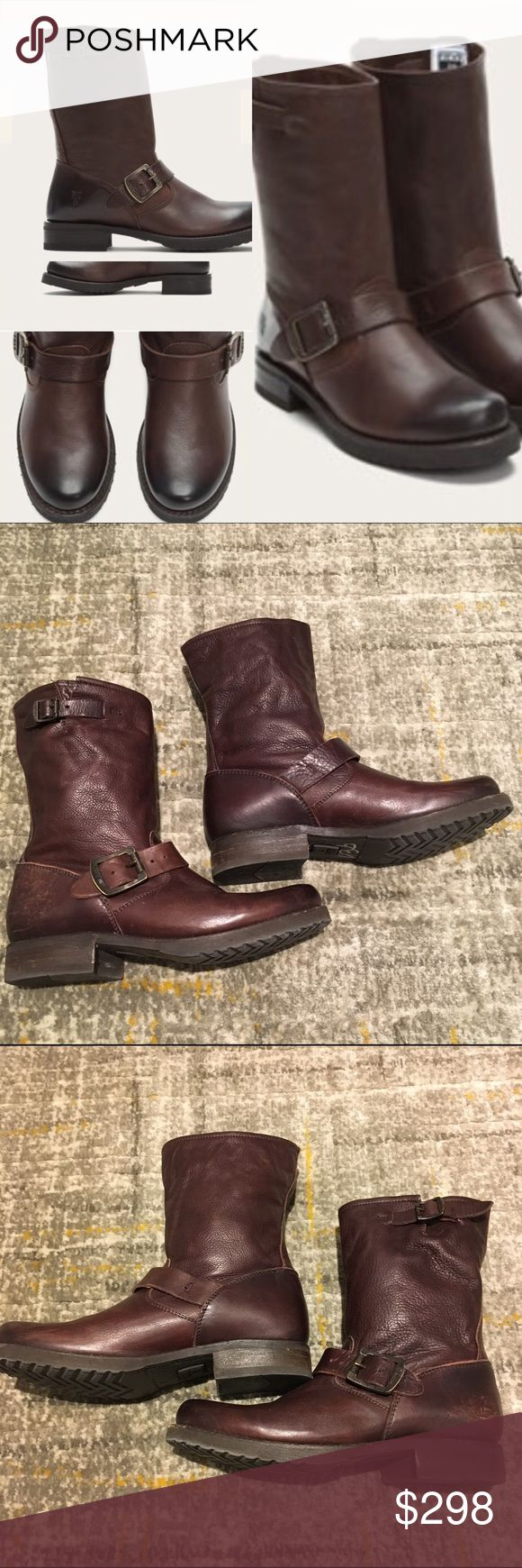 "Frye Veronica Dark Brown Short Boots Size 6.5 🎁Offers welcome 🔑Bundle to save                                             👍Like for price drop notifications               EUC Veronica Frye Boots. Classic soft & supple genuine Italian leather, washed & antiqued, mid-calf height, unlined, leather outsole w rubber forepart, 9"" shaft height, 13"" shaft circumference, 1"" heel height, stacked leather heel. Some minor scuffs but excellent condition-see photos. Last photo: detached section is part…"