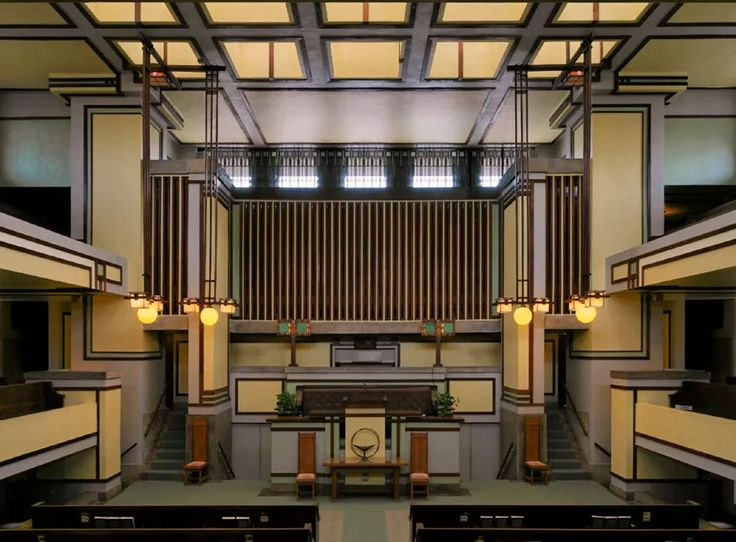 """The Unity Temple in Oak Park, Illinois, by Frank Lloyd #Wright, is one of the masterpieces of #modern #architecture  part of the conservation program """"keep it Modern"""" by the @gettymuseum and Foundation. More at http://www.inexhibit.com/case-studies/the-getty-helps-conservation-icons-modern-architecture/"""