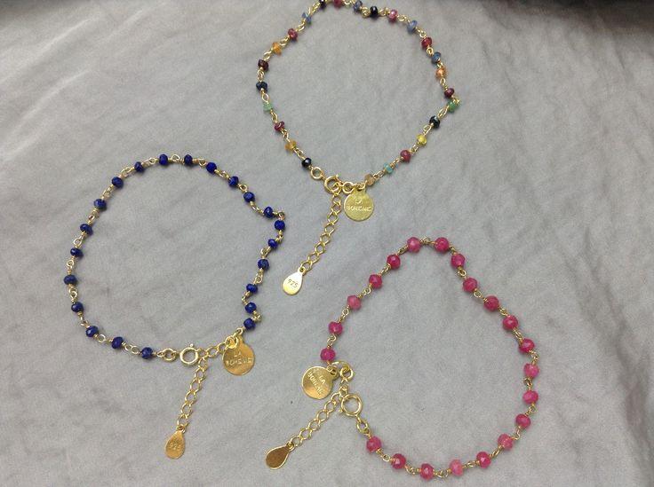"""1. Bransoletka granatowy """"różaniec"""" lapis lazuli 2. Bransoletka """" kolorowy różaniec"""" mix kamieni (szamragdy,rubiny, szafiry, cytryny)  3. Bransoletka rubinowy """"różaniec"""""""