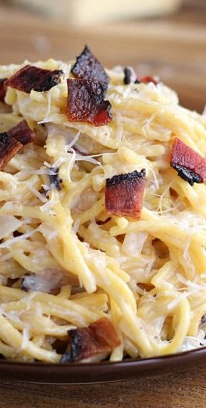 Lighter Bacon Alfredo with Gouda and Parmesan.
