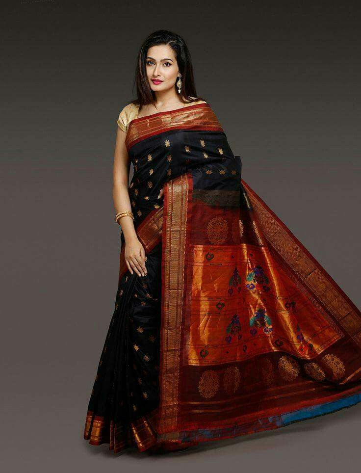 Black Paithani saree