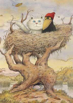 Ontwerp: Erwin Moser titel: Het huis in de boom, illustratie uit het boek -Het huis in de boom in Moor-. Postkaart
