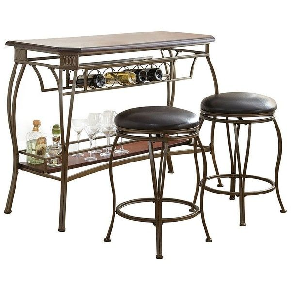Greensboro 3 Piece Bar Table Stool Set Rich Oak 364 Liked On Polyvore Featuring Home
