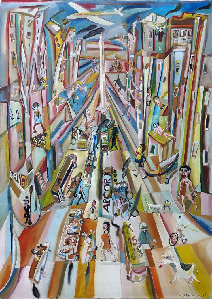 """Avenida 9 de Julio"", acrylic on canvas, 93 x 130 cm year 2000 , pinturas de Diego Manuel, Painting Cubist Artwork - Fine Art by Diego Manuel"