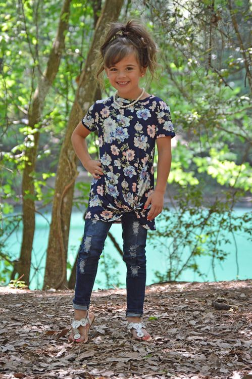 Navy Floral Twist Top, Top, Floral Top, Twist Top, Short Sleeve Top, Ryleigh Rue Clothing, Kids Boutique, Kids Clothing, Kids Fashion, Fashion, Online Shopping, Online Boutique