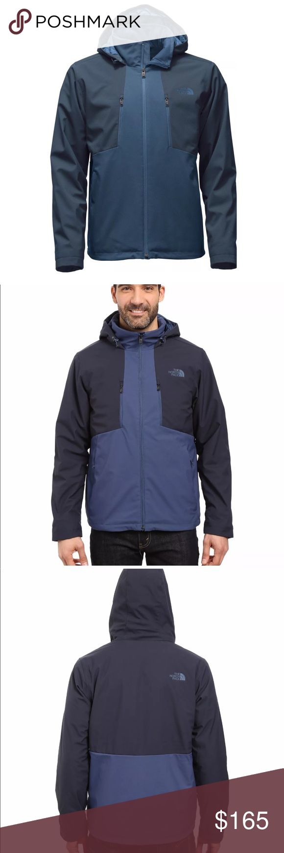New The North Face Apex elevation blue jacket Let the elements roll off your back with this windproof, water-repellent soft-shell hooded jacket that delivers insulated, breathable warmth during active winter endeavors ·         100% windproof fabric ·         Attached, fully adjustable, insulated drop hood ·         Exposed, reverse-coil center front and chest pocket zips ·         Covered, secure-zip hand pockets ·         Internal comfort cuffs ·         Hem cinch-cord ·         Media…