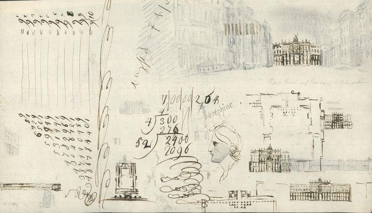zeitenblicke - Friedrich Wilhelm (IV.), Entwürfe für die Umgestaltung der Höfe des Berliner Schlosses, Berechnungen, Kalligraphien, orientalischer Kopf