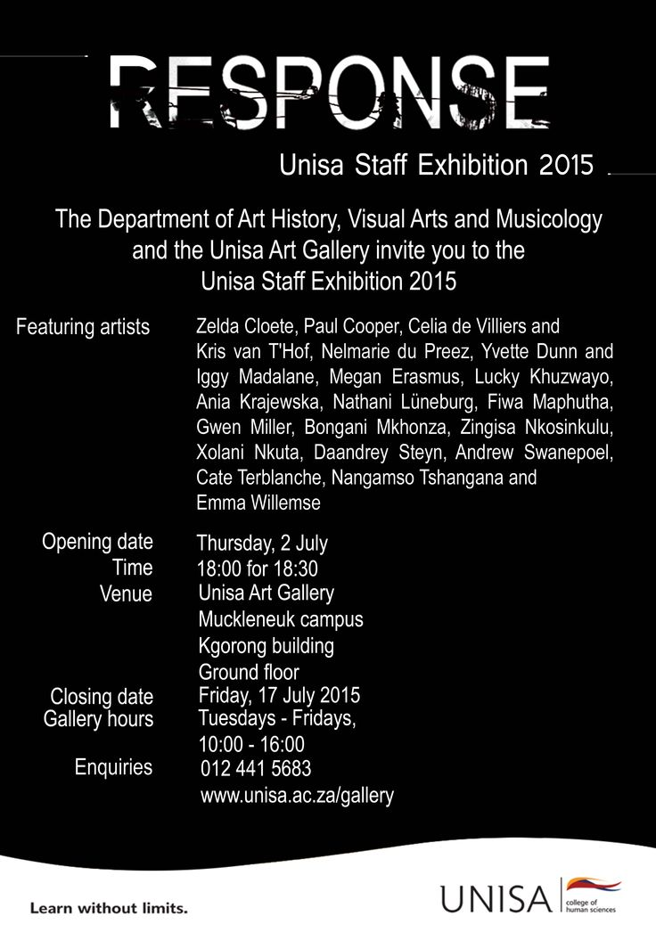 Unisa Staff Exhibition 2015: Response. Unisa Art Gallery. Curated by Megan Erasmus. Copyright reserved.