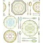 American Classics Dinnerware Wallpaper, White/Off White/Palest Green/Grass Green/Robin Egg Blue/Pink/Wheat/Eggplant/Dark Chocolate