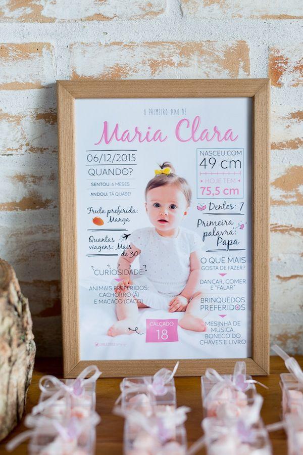 Aniversário de 1 ano da Maria Clara decorado pela Petite Partie e com fotos da Carla D´Aqui.  Quadrinho com informações da aniversariante!