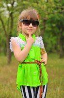 """Детская летняя шифоновая блуза """"Нинель"""" с кружевом и ремешком"""