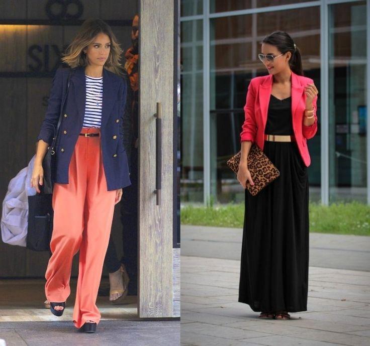 veste femme longue pantalon large-corail-2015-Jessica-Alba