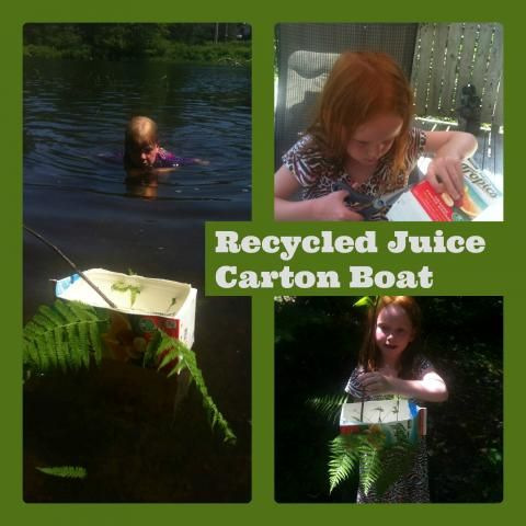 recycled Juice carton boat. Think of the things you can teach them about! Buoyancy, engineering! Huge lessons in fun activities and they won't even know their learning.