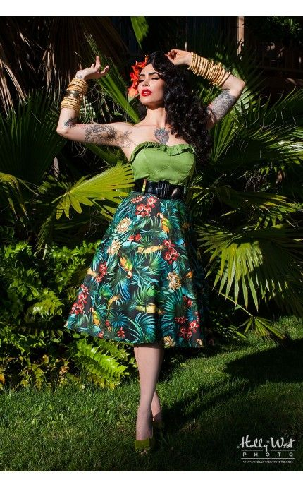 Pinup Couture- Doris Skirt in Parrot Print   Pinup Girl Clothing