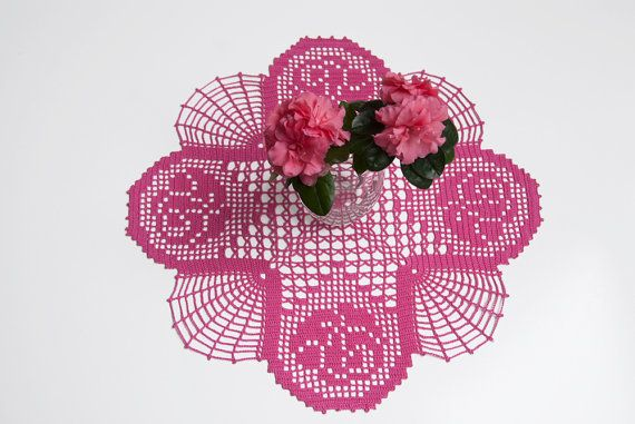 Crochet doily, tabletop decor, lace centerpiece, frame for wall decor, azalea, honeysuckle pink, deep rose, heirloom quality, cottage chic
