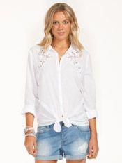 Lace Insert Cotton Shirt