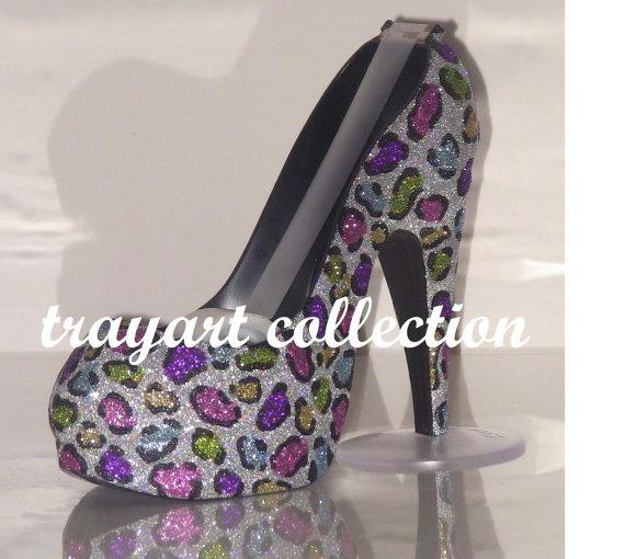 Rainbow Leopard High Heel Shoe TAPE DISPENSER Stiletto Platform With  Swarovski Crystals  Office Supplies