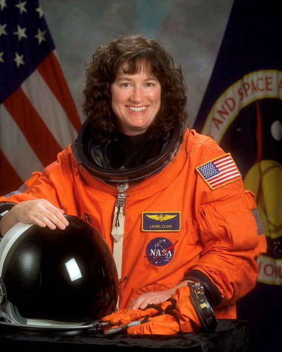 Astronaut Laurel B. Clark, STS-107 mission specialist, shown on February 26, 2002. She perished in flight on February 1, 2003, when Space Shuttle Columbia disintegrated over northern Texas.