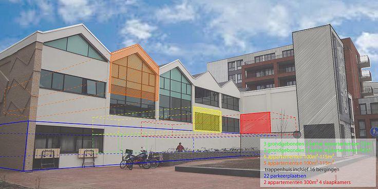Studie naar het herbestemmen van een oude schoolaula tot appartementen in Haarlem. BOP architecten   De Til   Haarlem