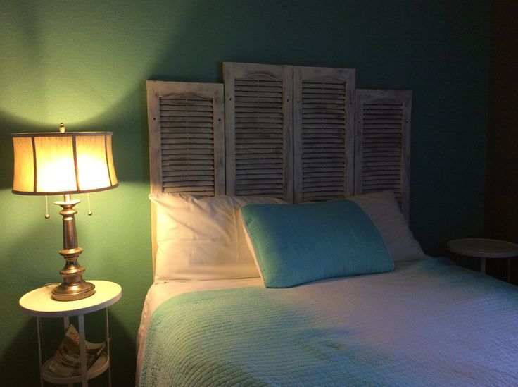 My free annie sloan painted headboard i found the plastic shutters in my stables used annie 39 s - Flexible exterior paint ideas ...
