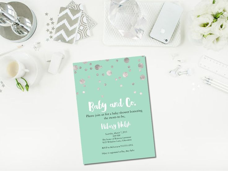Perfect invitation for a Baby and Co or Breakfast at Tiffany's themed baby shower!