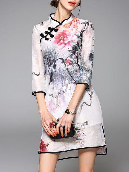 Floral-print Silk Cheongsam Mini Dress