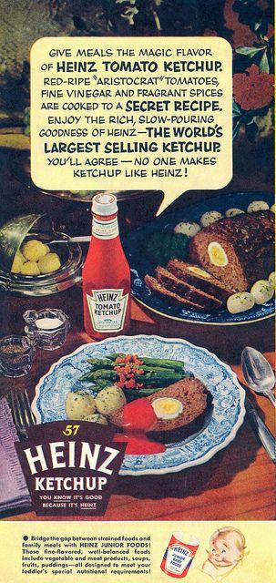1954 Heinz Ketchup ad. #vintage #1950s #food #ads