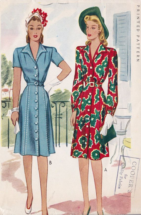 1940's Misses Button Down Day Dress Vintage Sewing Pattern