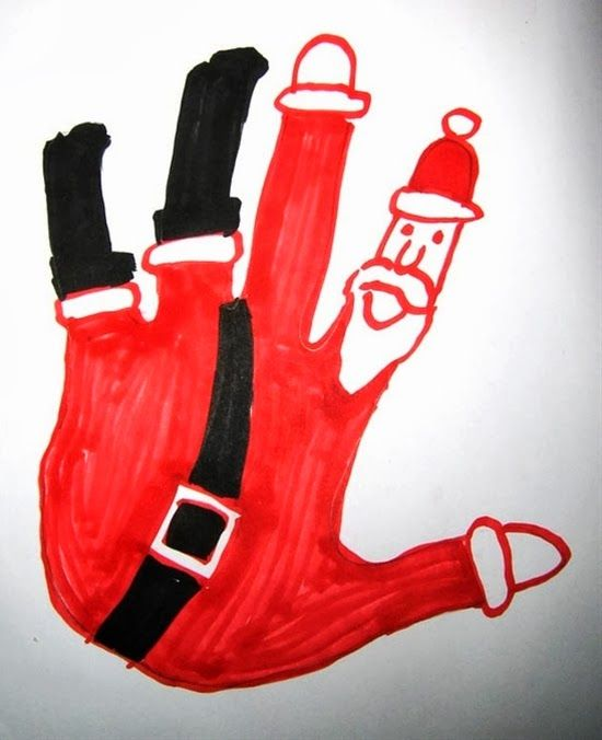 Santa hand print.  He could be falling into the chimney.