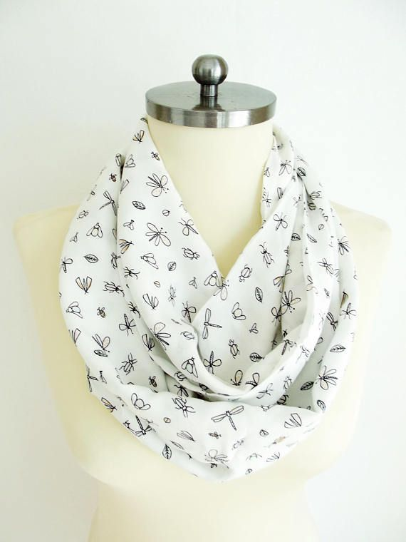 Soft Cotton Scarf Printed Scarf Cute Butterfly Ladybird White #scarf #white #ladybird #butterfly #infinityscarf #cottonscarf #printscarf #outfit #women #woman