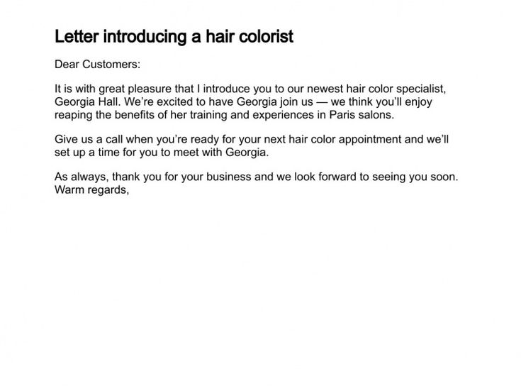 letter of introduction for new salon - Google Search