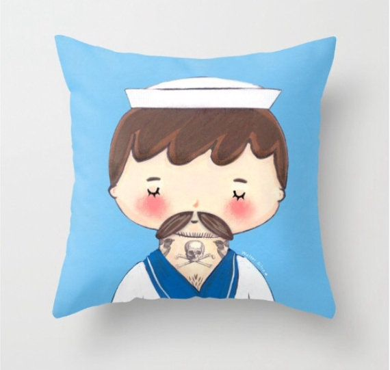 Tattooed Sailor Throw Pillow Cover  Dorm Decor by WalterSilva