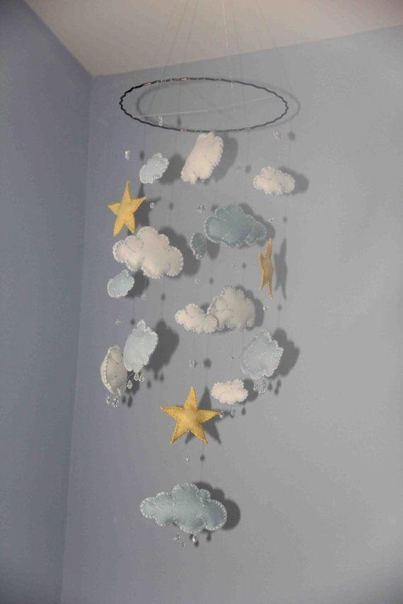 Baby Blue and White Felt Clouds with Yellow Stars and rain drops (glass) Mobile/ bebe