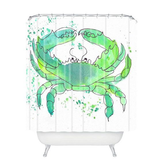Introducing the Beachy Seafoam Green Crab Shower Curtain in the Laura Trevey Home Collection.