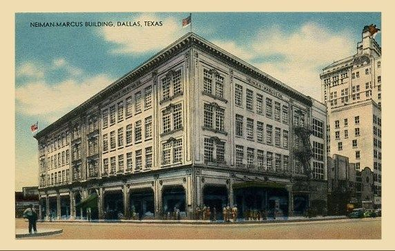A postcard of the Neiman Marcus flagship store in Downtown Dallas circa 1920.