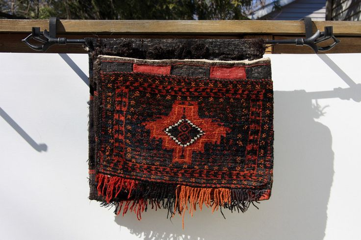 Vintage Handwoven Saddle Bag from Afghanistan, early 1980s, Unique Wall Decor, Burned Orange, Brown, Deep Blue colors, Horse Saddle Bag by MoonCamera on Etsy https://www.etsy.com/listing/227986649/vintage-handwoven-saddle-bag-from