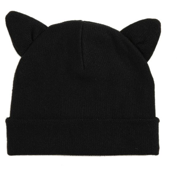 Black Cat Knit Beanie | Hot Topic ($7.50) ❤ liked on Polyvore featuring accessories, hats, beanies, black, black cat hat, black knit hat, black beanie, black hat and knit hats