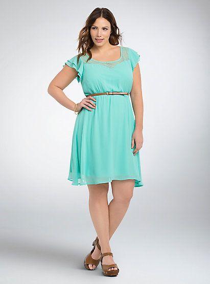 Ruffle Lace Inset Skater DressRuffle Lace Inset Skater Dress,