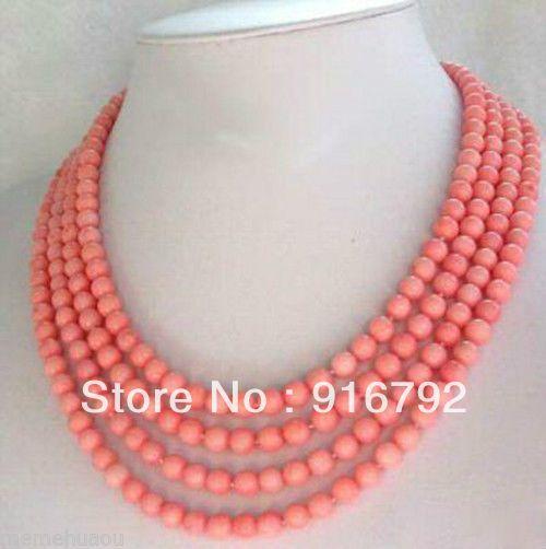 Бесплатная доставка >>>>> мода ювелирные изделия 4 Strands 5 мм розовый коралл ожерелье