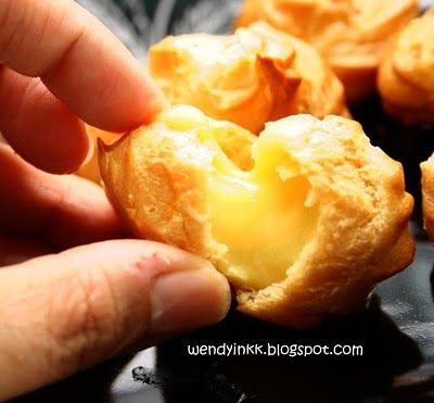Recipe Durian Custard Cream Puffs by Table for 2.... or more