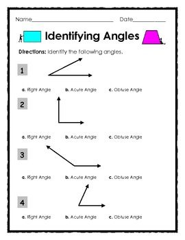 Identifying Right, Obtuse and Acute Angles - 2 pages. Subject: Elementary Geometry. Multiple Choice Assessment requiring students to identify right angles, obtuse angles and acute angles. *Free Worksheet Printable*