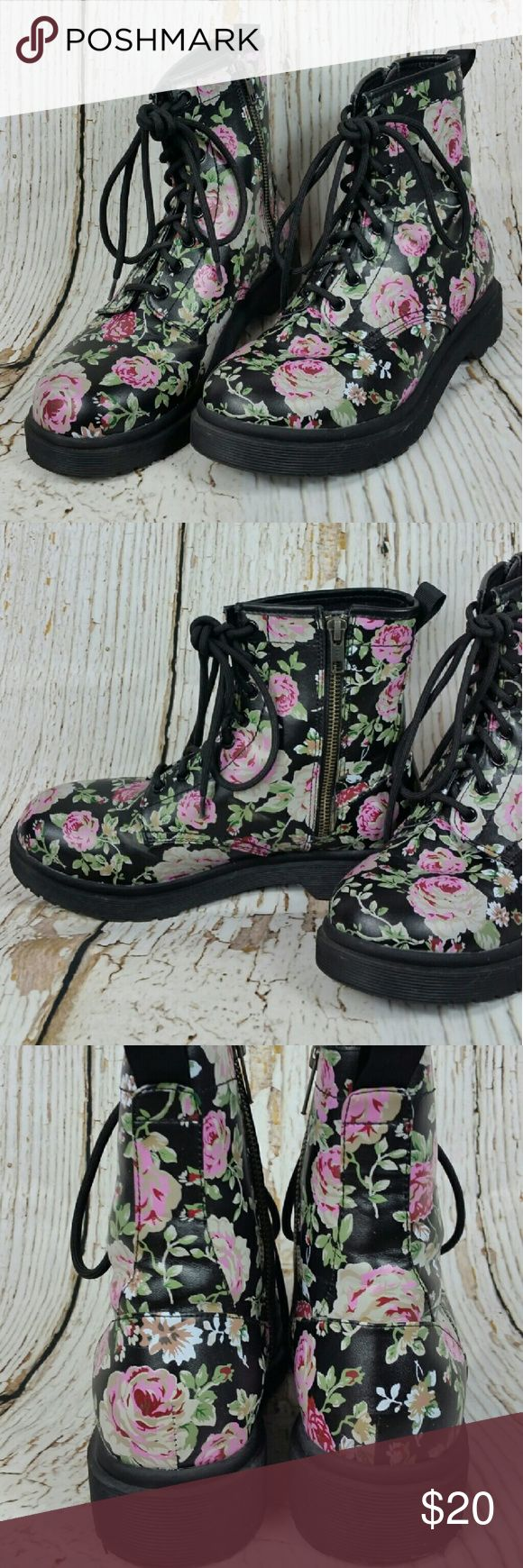 Floral Combat Boots ~Only worn a couple of times ~EUC ~NO TRADES  ~REASONABLE OFFERS ACCEPTED  ~PLEASE ASK ALL QUESTIONS BEFORE PURCHASING Mossimo Supply Co Shoes Combat & Moto Boots