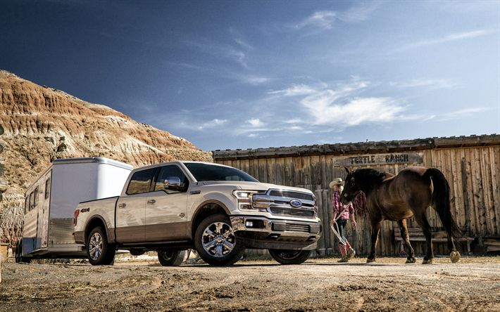 Descargar fondos de pantalla Ford F-150, 2018, 4k, camioneta, camiones Estadounidenses, estados UNIDOS, nueva F-150, caballo, caballos, Ford